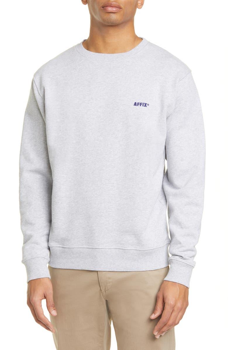 AFFIX Logo Embroidered Cotton Sweatshirt, Main, color, GREY MARL