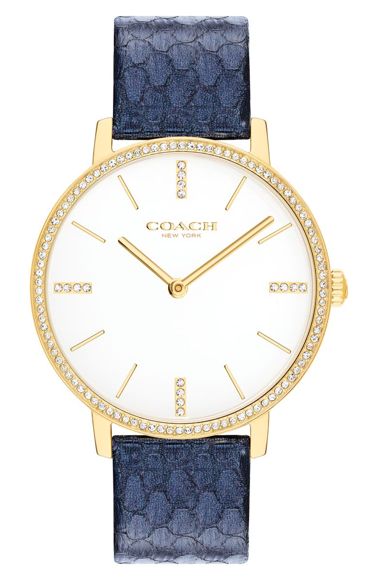 COACH Audrey Snakeskin Embossed Leather Strap Watch, 35mm, Main, color, NAVY SNAKE/ WHITE/ GOLD
