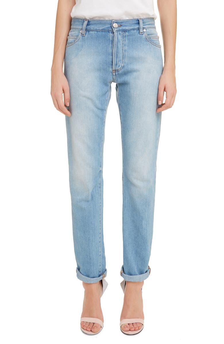 BALMAIN Straight Fit Jeans, Main, color, BLEU JEAN