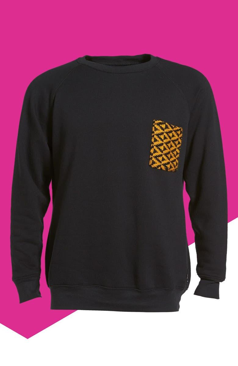 KROCHET KIDS Pocket Crewneck Sweatshirt, Main, color, 001