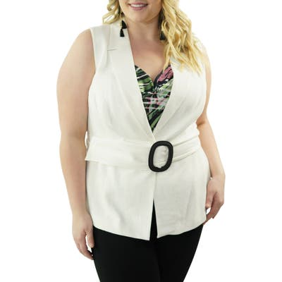 Plus Size Maree Pour Toi Belted Vest, White