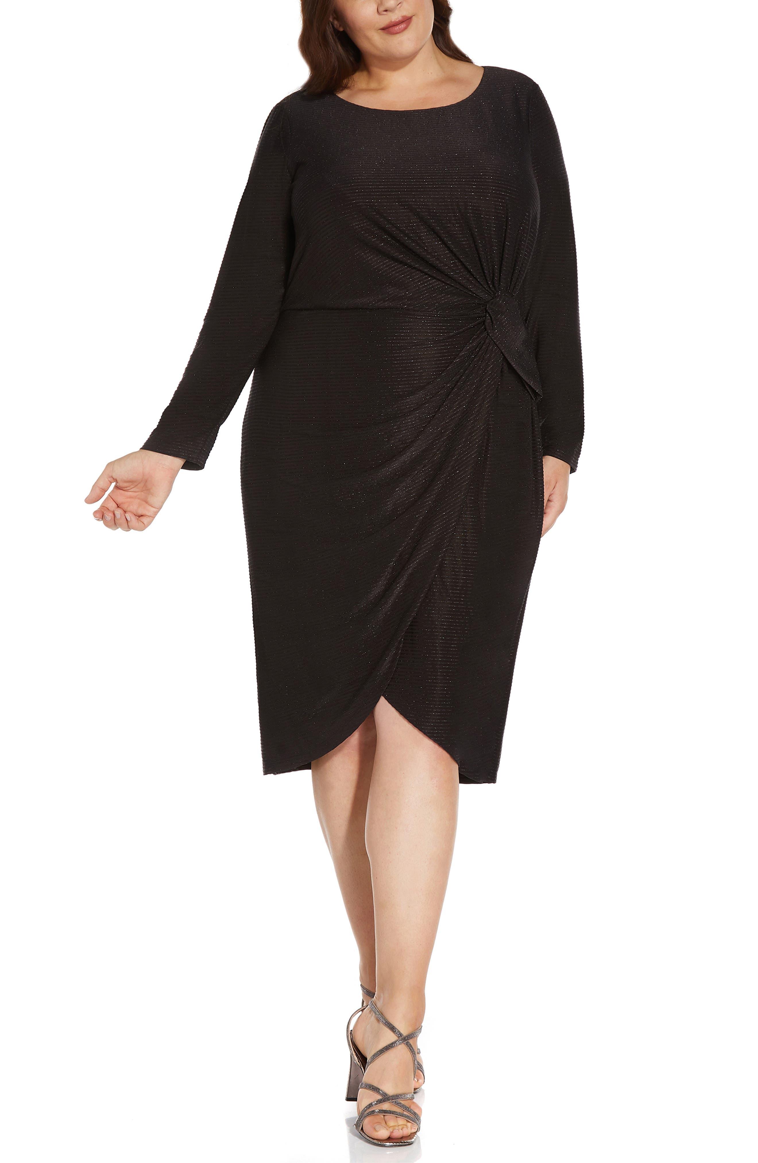 Draped Metallic Sheath Dress