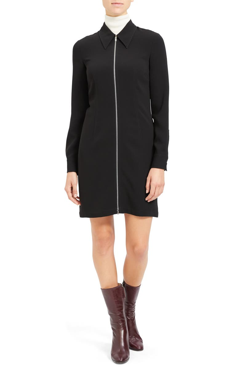 THEORY Zip Front Long Sleeve Shirtdress, Main, color, BLACK