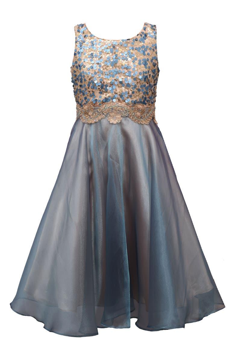 IRIS & IVY Sequin & Organza Party Dress, Main, color, BLU