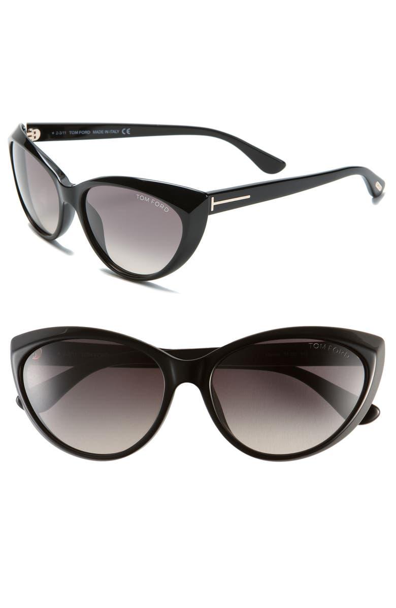 TOM FORD 'Martina' 59mm Retro Sunglasses, Main, color, 001