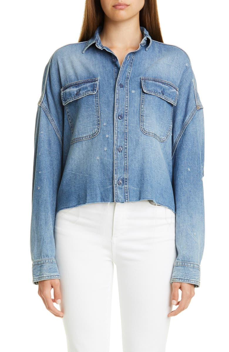 R13 Distressed Crop Denim Shirt, Main, color, BRINDLEY