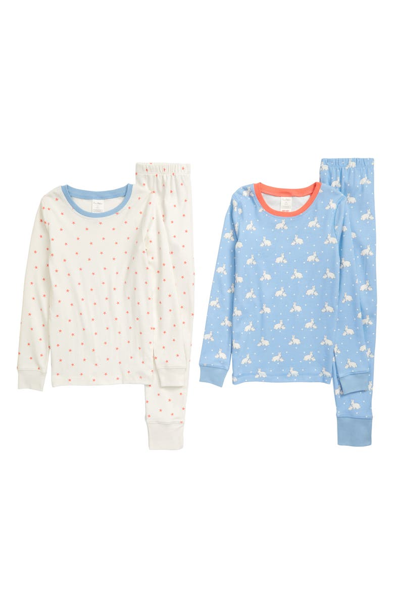 MINI BODEN 2-Pack Fitted Two-Piece Pajamas, Main, color, BLULIGHT SKYBLUE BUNNIES STARS