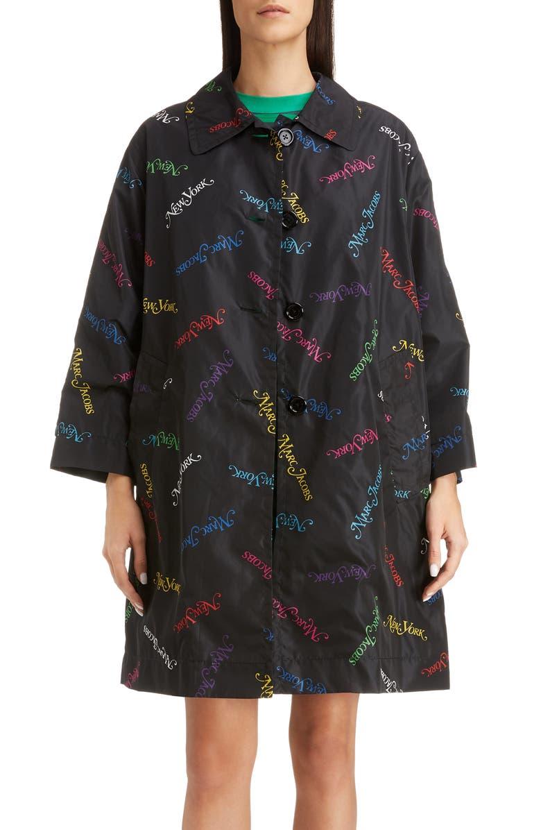 MARC JACOBS x New York<sup>®</sup> Magazine The Balmacaan Rain Jacket, Main, color, BLACK MULTI