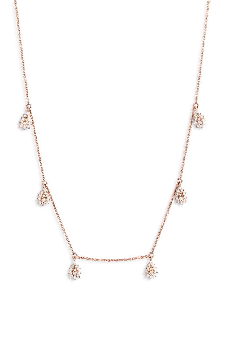 DANA REBECCA DESIGNS Jennifer Yamina Dangle Necklace, Main, color, ROSE GOLD
