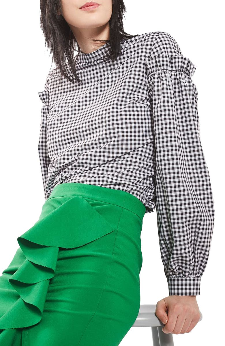 TOPSHOP Gingham Mutton Sleeve Top, Main, color, BLACK MULTI