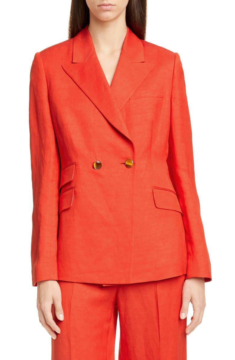 PARTOW Rose Double Breasted Linen Blend Jacket, Main, color, POPPY