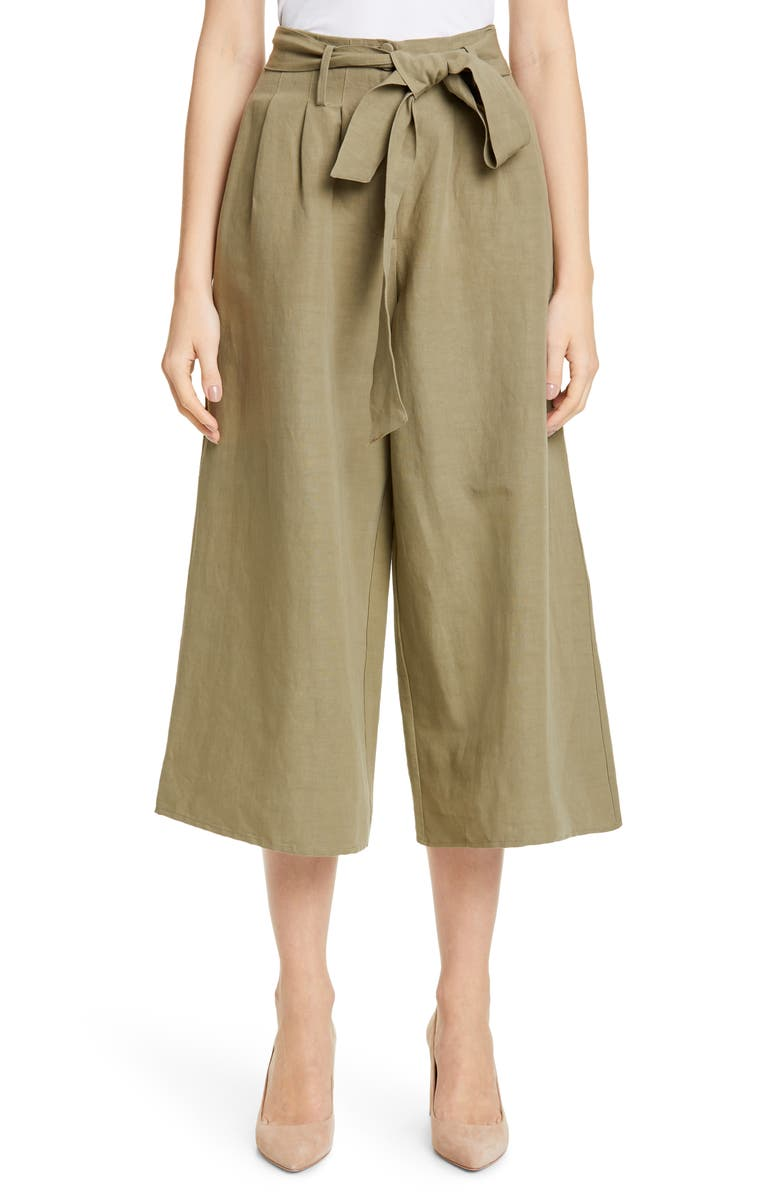 the sale of shoes shop best sellers finest fabrics Co Belted Linen Blend Wide Leg Crop Pants | Nordstrom