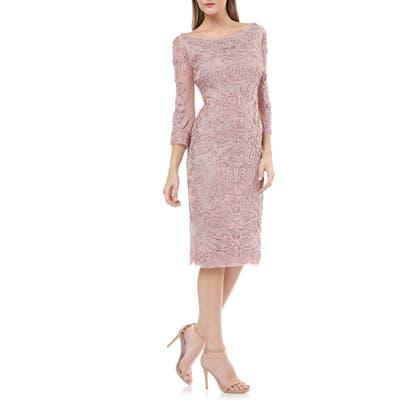 Js Collections Soutache Chiffon Sheath Dress, Pink
