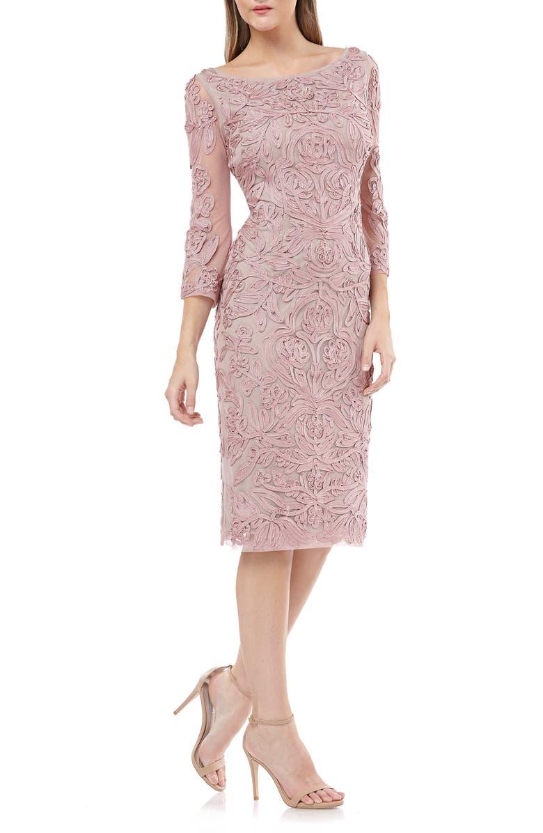 JS COLLECTIONS Soutache Chiffon Sheath Dress, Main, color, BLUSH GINGER