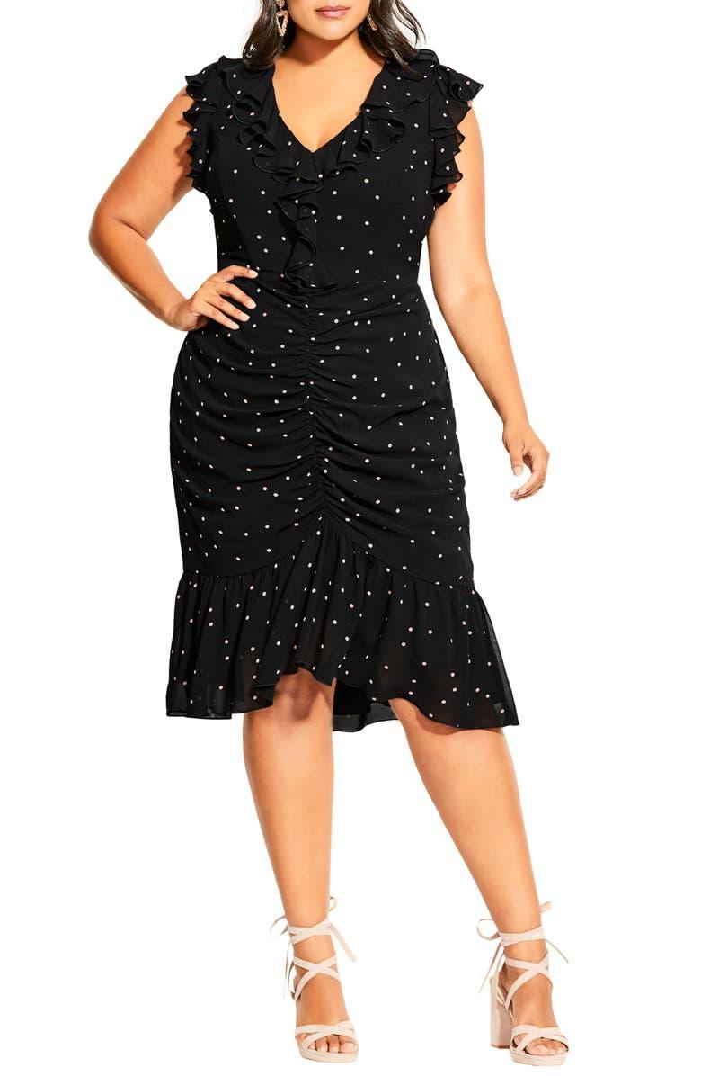 CITY CHIC Fun Spot Ruffle Dress, Main, color, 001