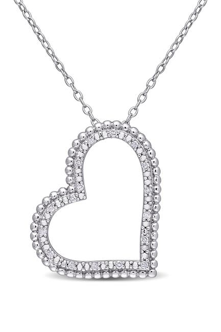 Image of Delmar Sterling Silver Pave Diamond Accent Open Heart Pendant Necklace - 0.09 ctw