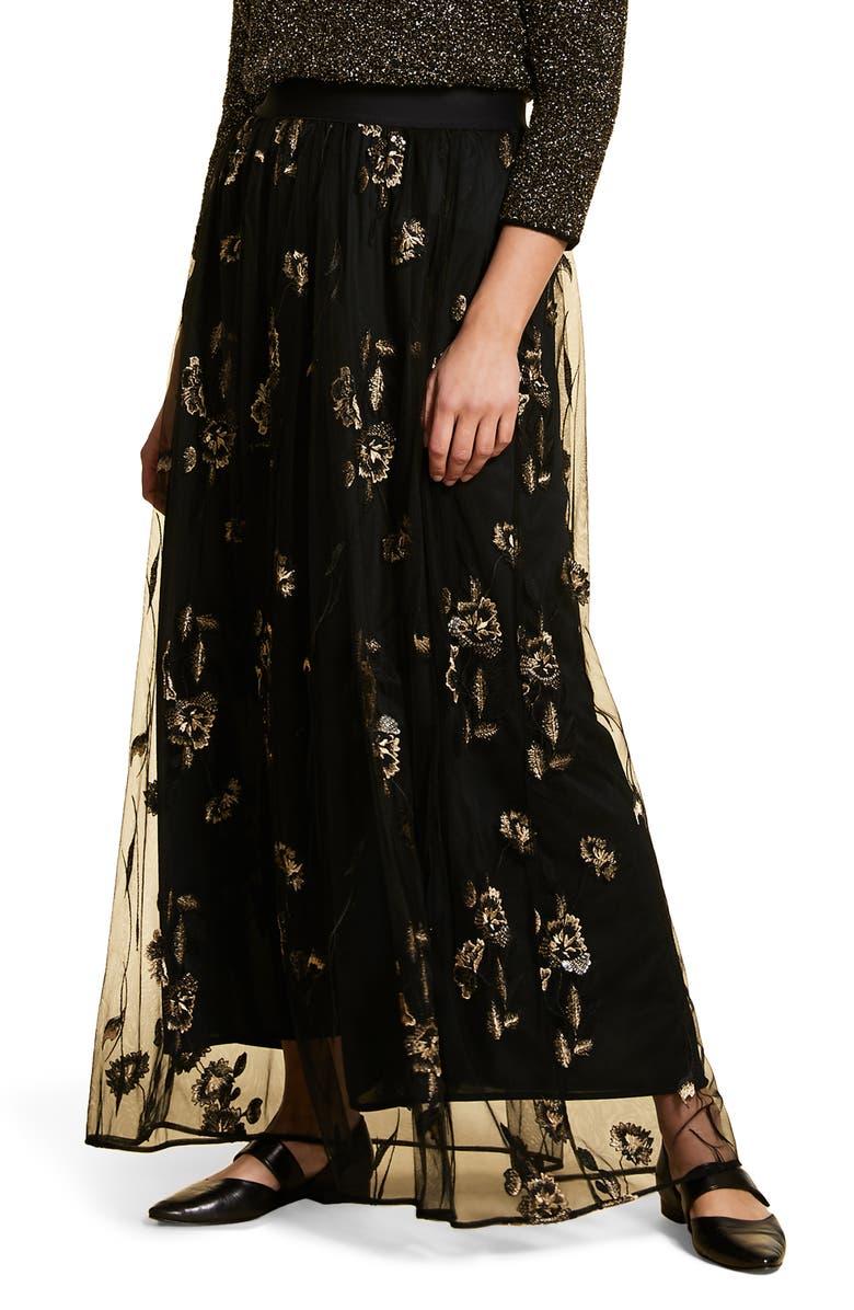 MARINA RINALDI Cipria Floral Embroidery Tulle Maxi Skirt, Main, color, BLACK