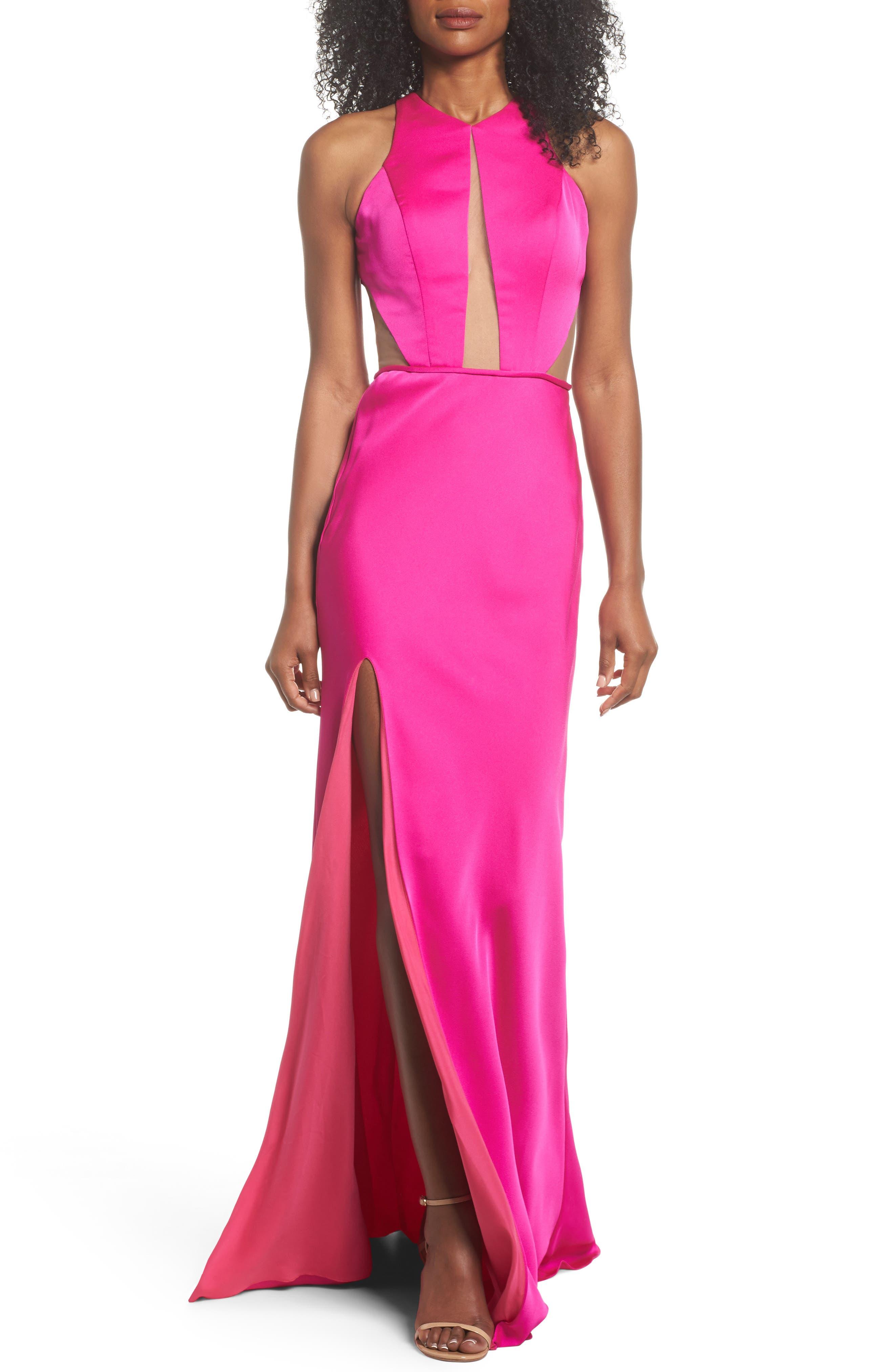 La Femme Cutout Detail Satin Gown, Pink
