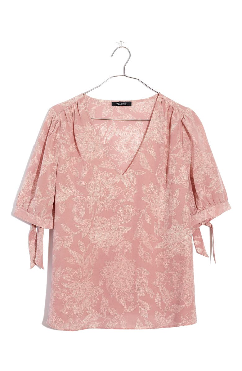 MADEWELL Pindot Blooms Tie Sleeve Silk Top, Main, color, PIN DOT FLORAL WISTERIA DOVE