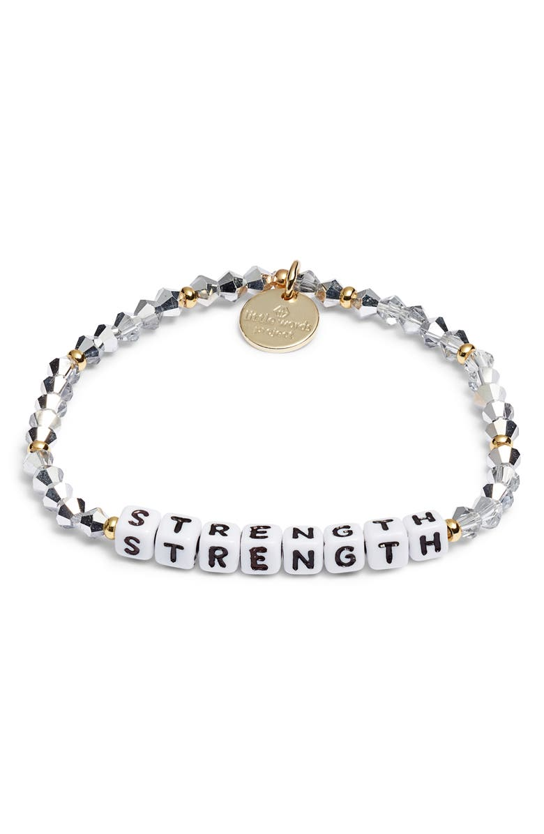 LITTLE WORDS PROJECT Strength Beaded Stretch Bracelet, Main, color, COMET LIGHT SILVER WHITE