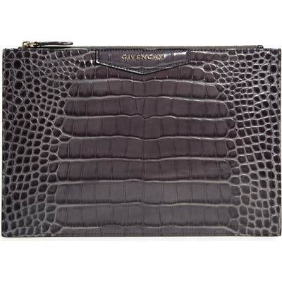 Givenchy Medium Antigona Croc Embossed Leather Pouch - Grey