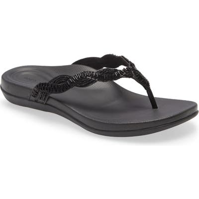 Aetrex Brandy Beaded Flip Flop, Black