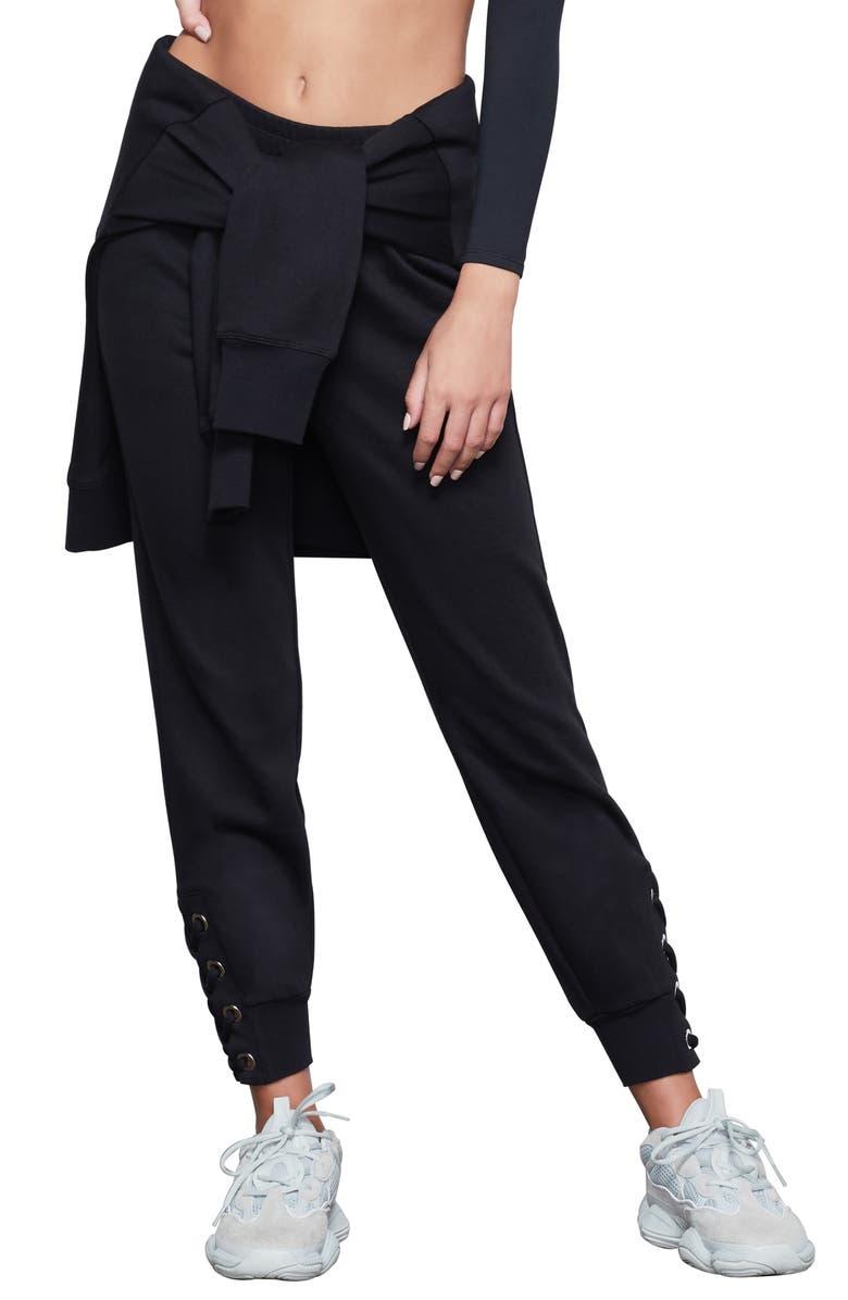 GOOD AMERICAN Laced Leg Jogger Pants, Main, color, BLACK001
