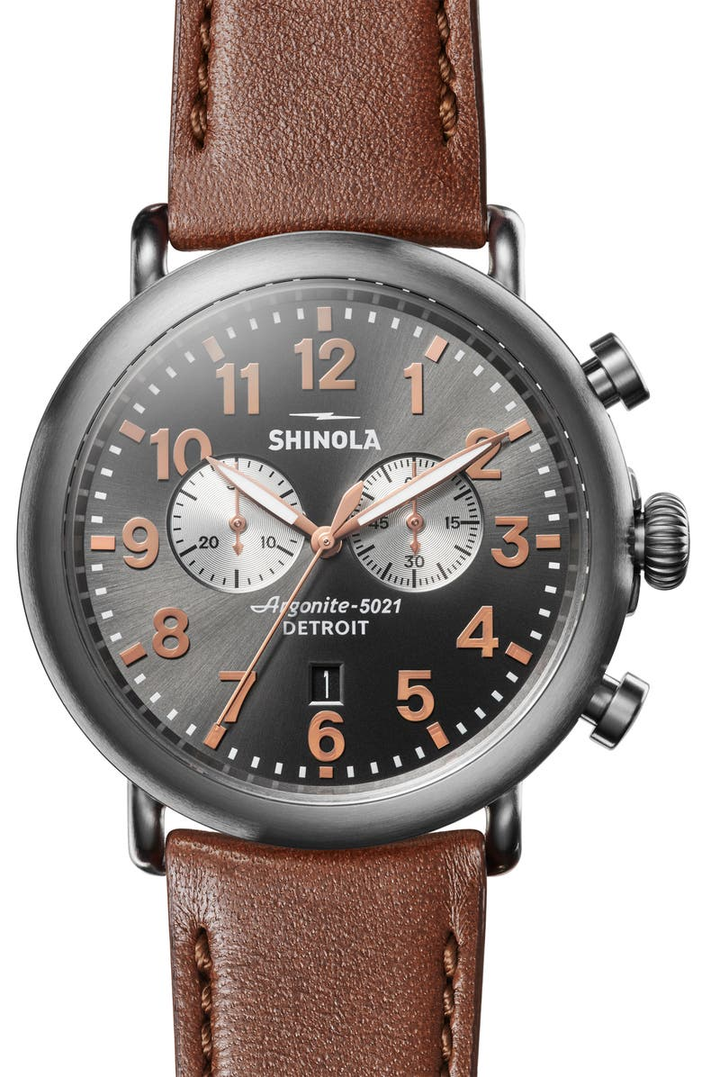 SHINOLA The Runwell Chrono Leather Strap Watch, 47mm, Main, color, DARK COGNAC/ GUNMETAL/ GREY