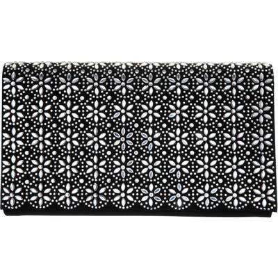 Nina Crystal Flower Embellished Clutch - Black