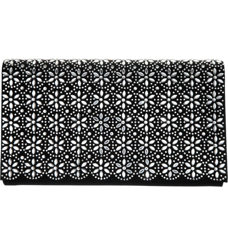 Crystal Flower Embellished Clutch by Nina