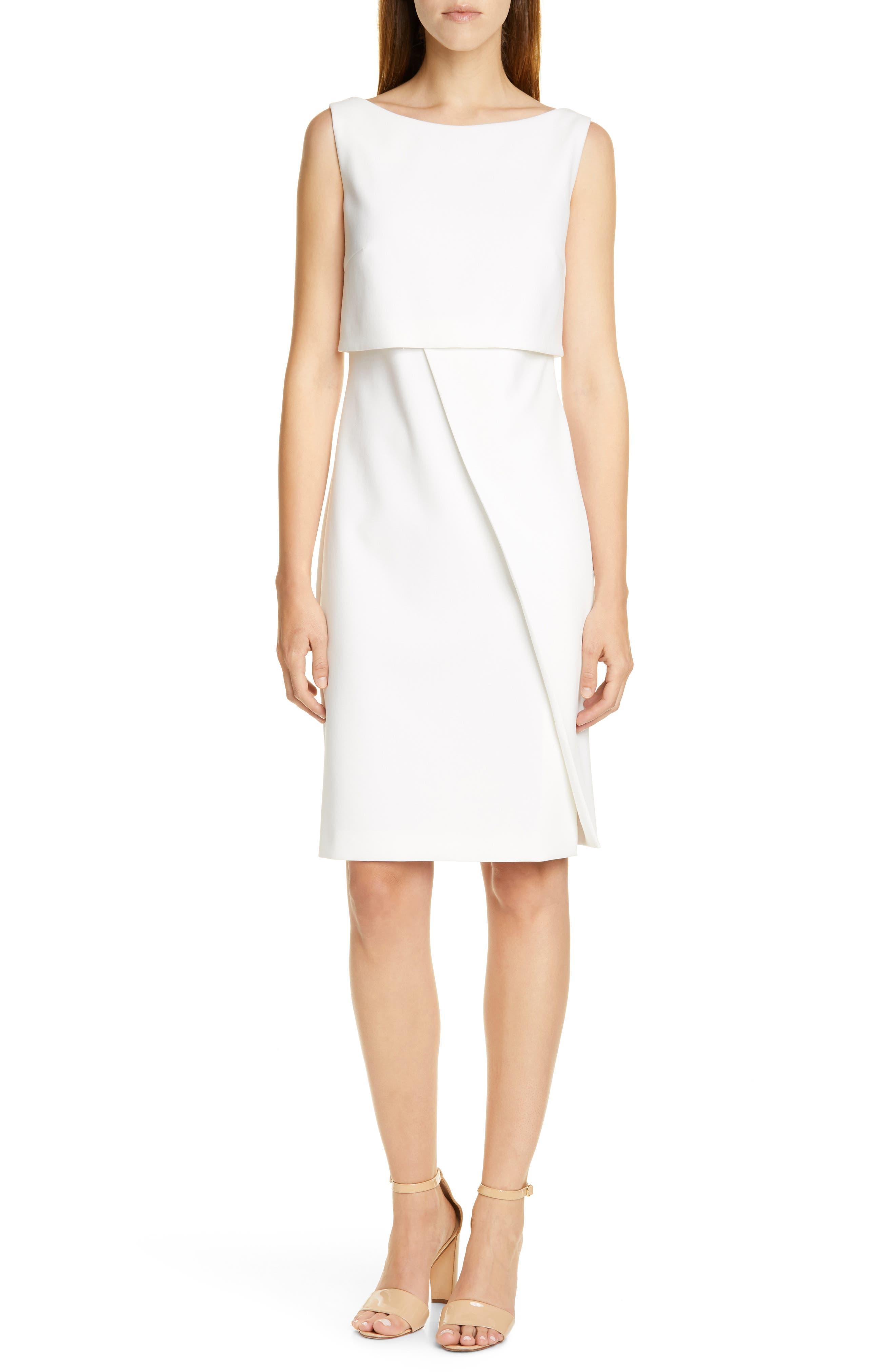 Petite Boss Danita Faux Wrap Ponte Sheath Dress, White