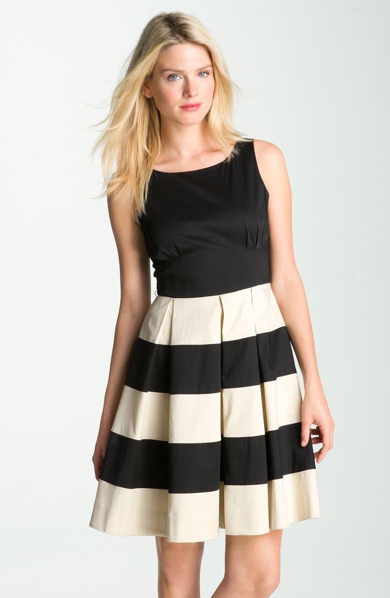 KATE SPADE NEW YORK 'celina' pleated stripe dress, Main, color, 001