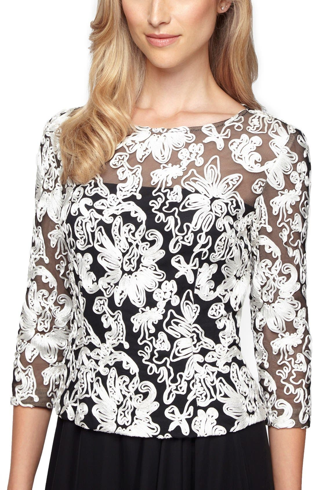 Swirling soutache embroidery adds texture and visual intrigue to an airy tulle top designed with a demure illusion yoke and sleeves that provide subtle coverage. Style Name: Alex Evenings Soutache Tulle Blouse. Style Number: 5106875. Available in stores.