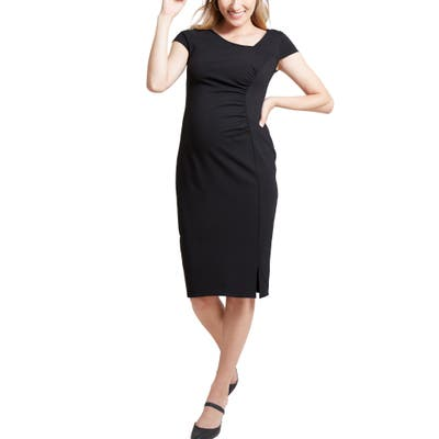 Ingrid & Isabel Asymmetrical Neck Maternity Dress, Black