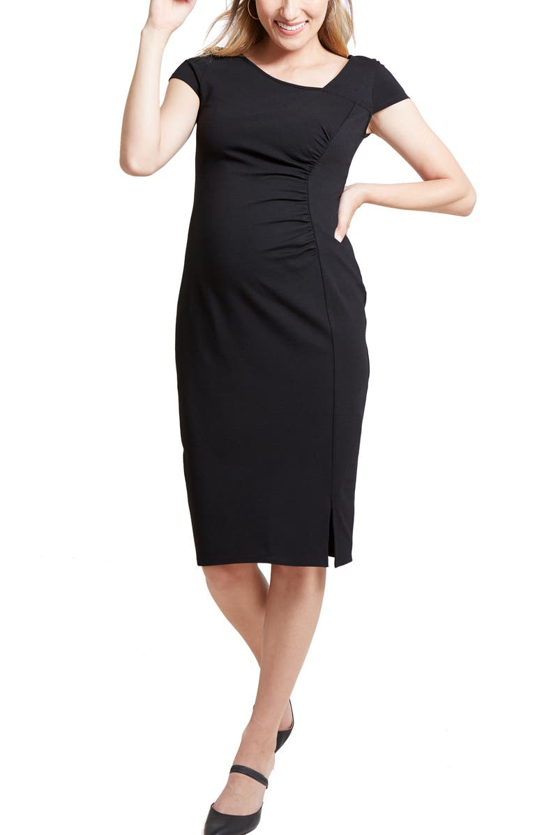 INGRID & ISABEL<SUP>®</SUP> Asymmetrical Neck Maternity Dress, Main, color, BLACK
