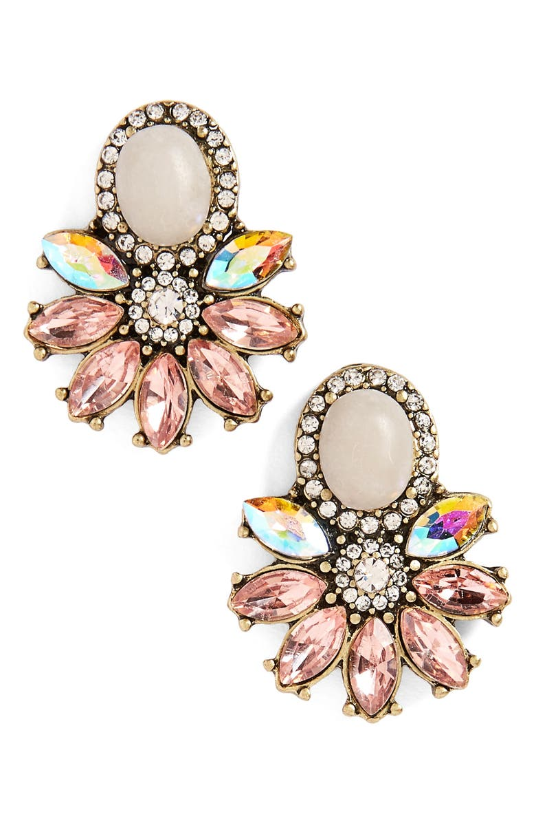 SOLE SOCIETY Crystal & Stone Earrings, Main, color, 680