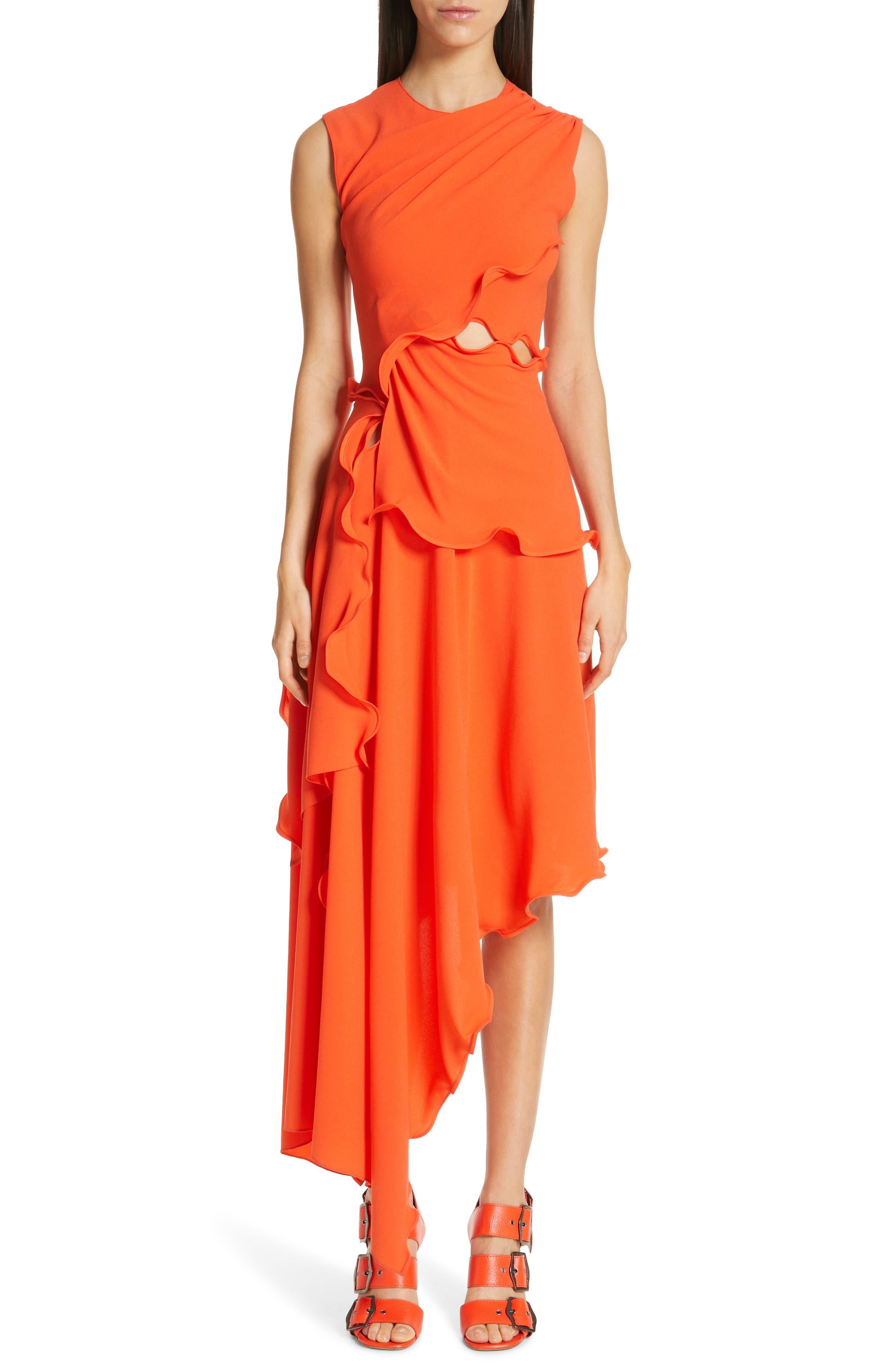 Sies Marjan Ruffle Trim Asymmetrical Crepe Dress