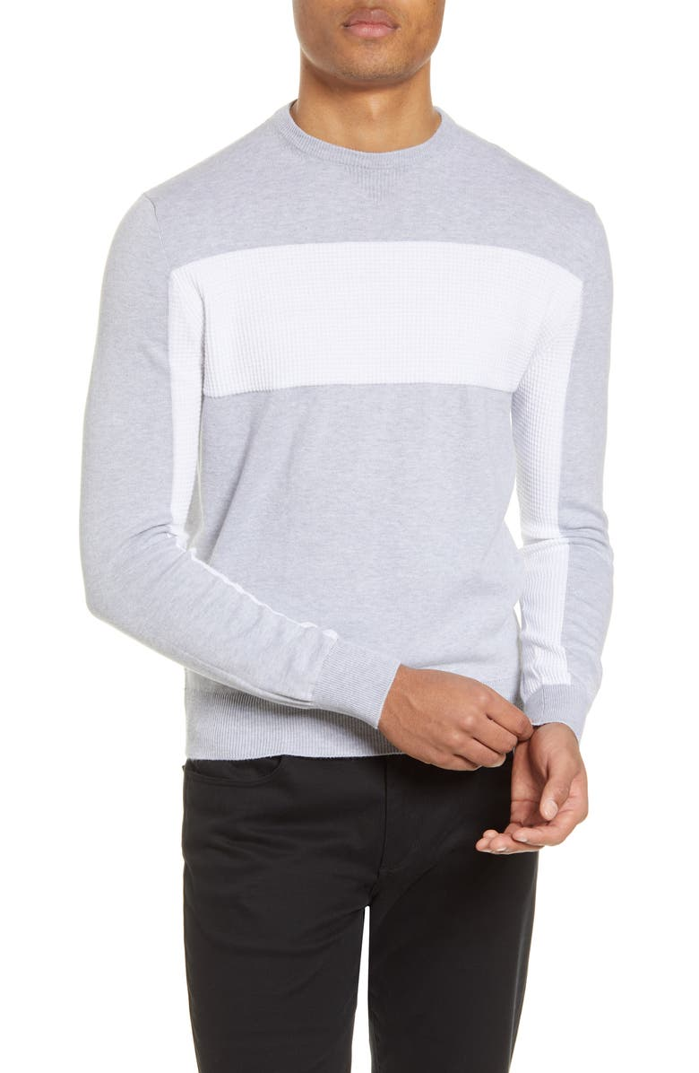 CHRISTOPHER BATES Contrast Stitch Cotton Crewneck Sweater, Main, color, GREY/ WHITE