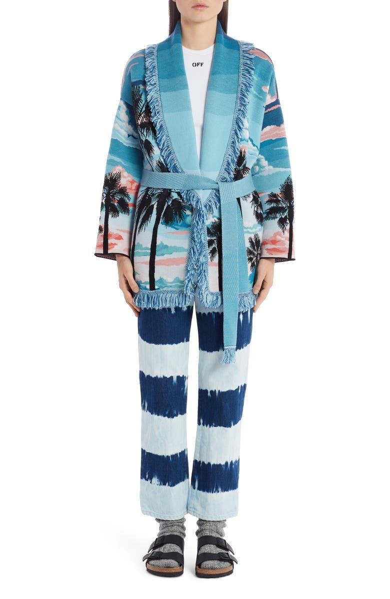 ALANUI Sunset Jacquard Wool & Silk Cardigan, Main, color, MULTICOLOR