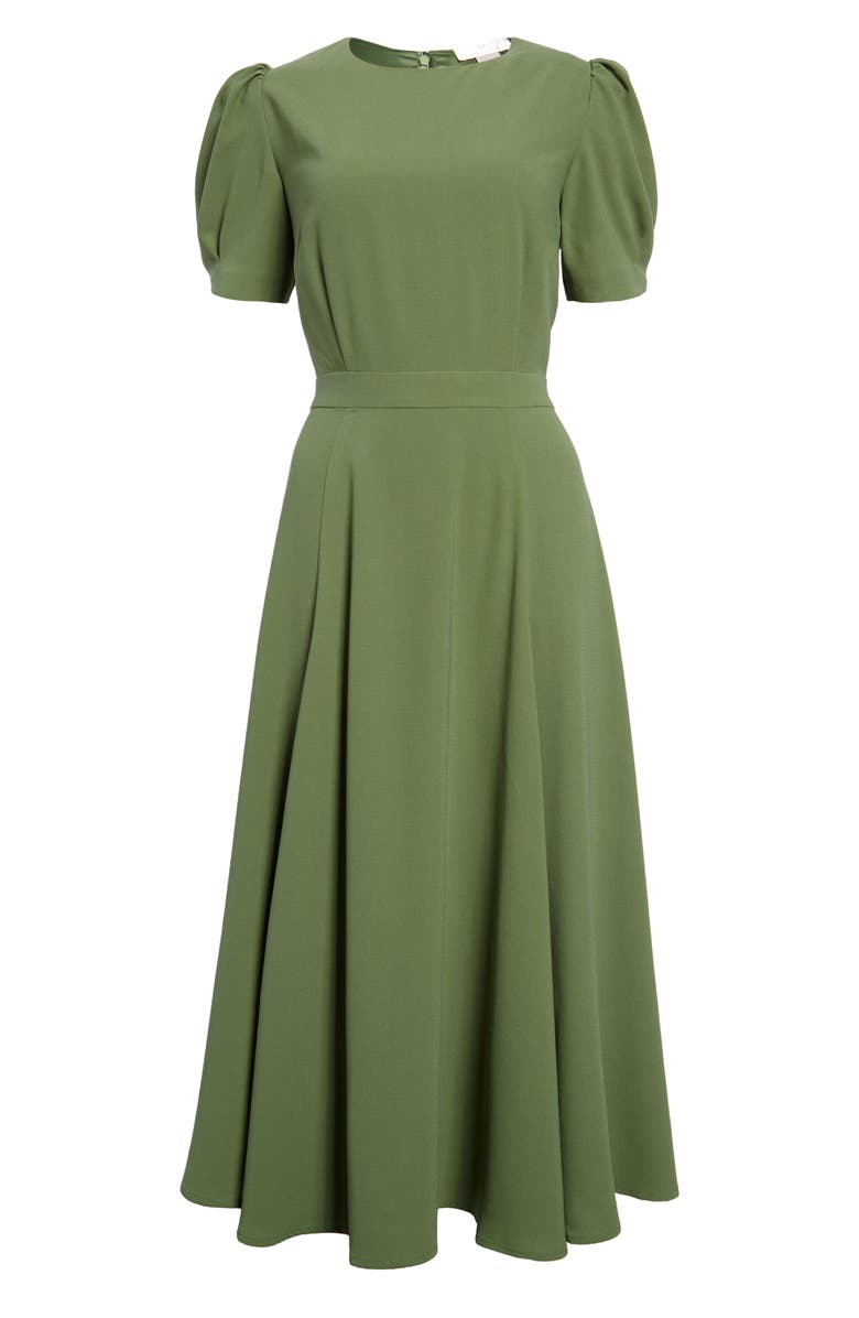 RACHEL PARCELL Puff Sleeve Crepe Midi Dress, Main, color, GREEN DILL