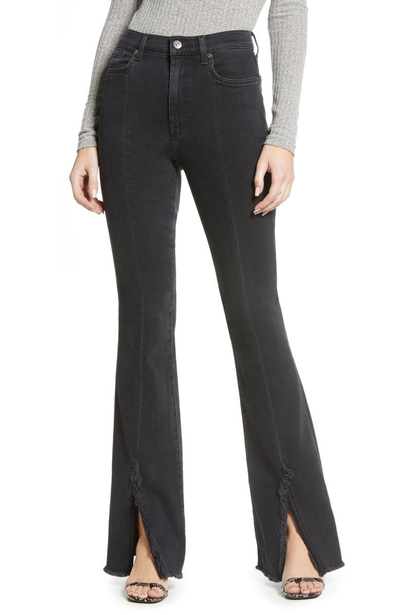 7 FOR ALL MANKIND<SUP>®</SUP> Exaggerated Kick Fray Hem Jeans, Main, color, MOON SHADOW