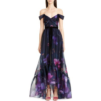 Marchesa Notte Off The Shoulder Floral Organza Gown, Blue