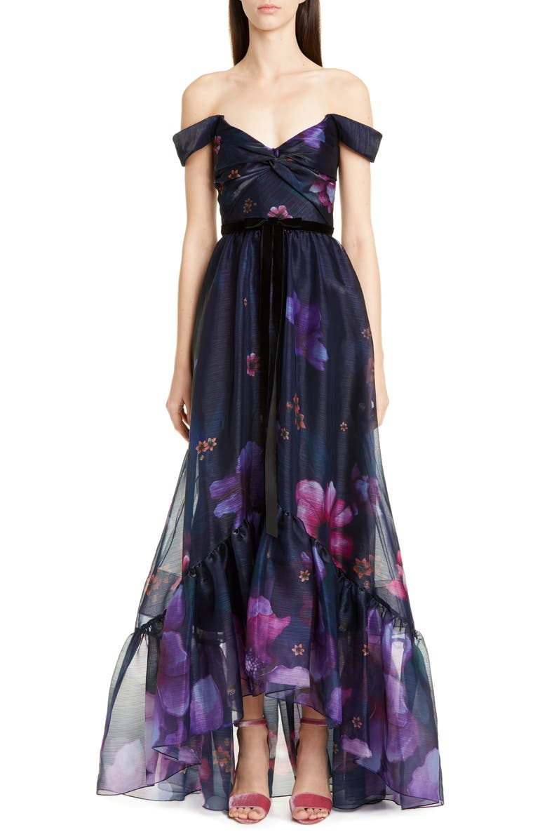 MARCHESA NOTTE Off the Shoulder Floral Organza Gown, Main, color, NAVY