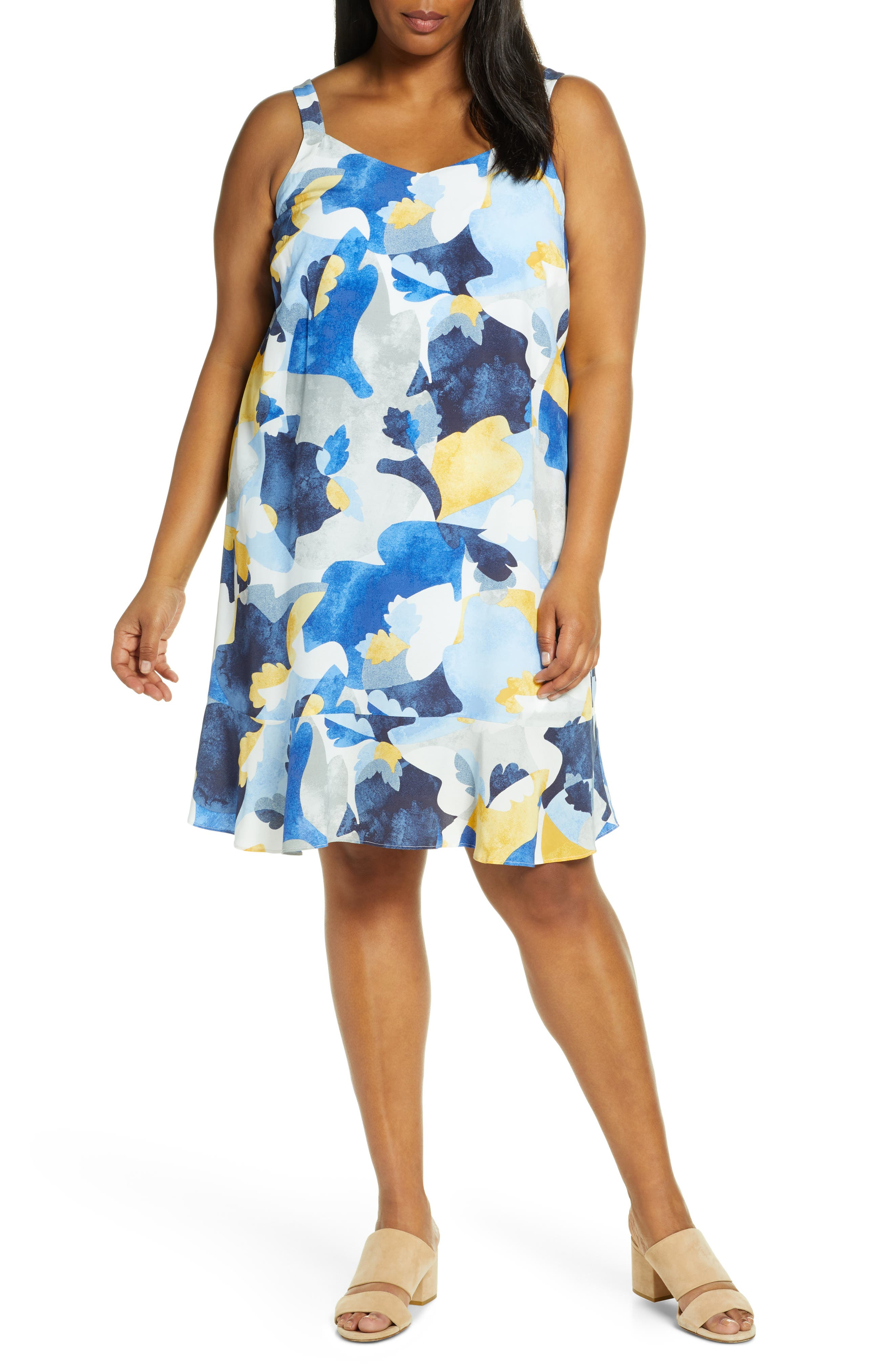 Plus Size Nic+Zoe Sun Seeker Sleeveless Sundress, Blue