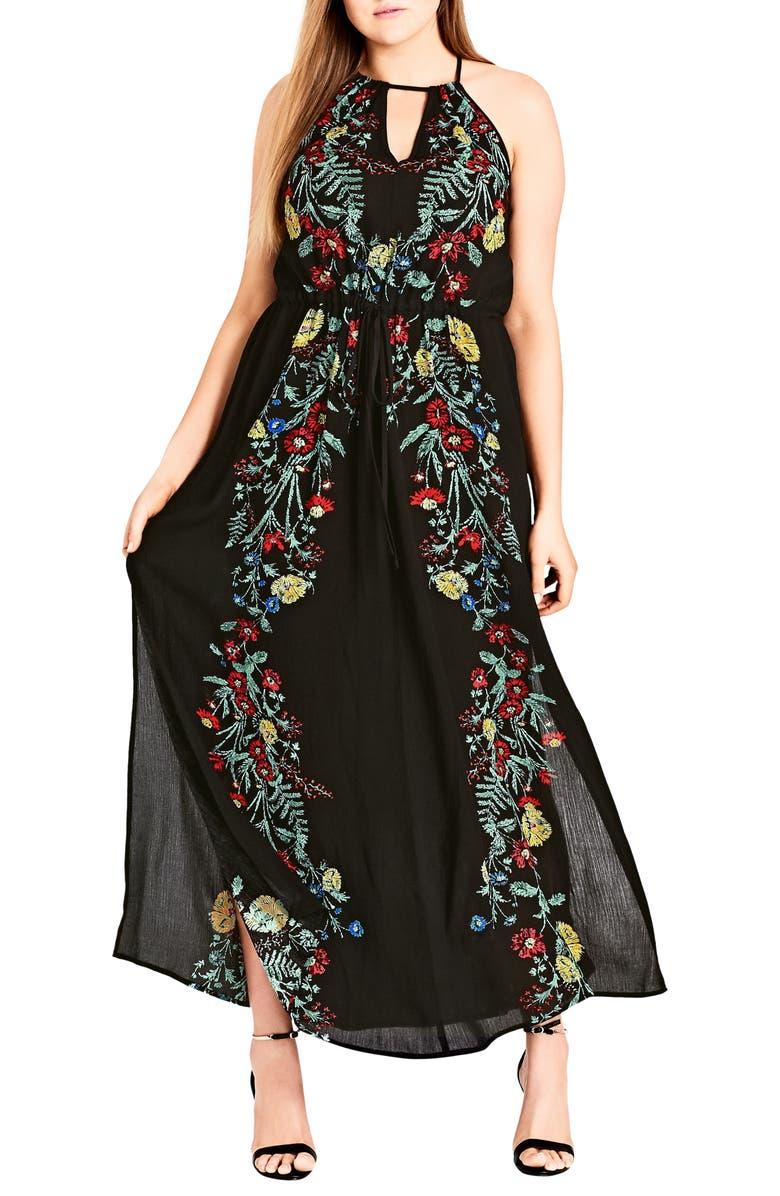 CITY CHIC Secret Vine Maxi Dress, Main, color, BLACK