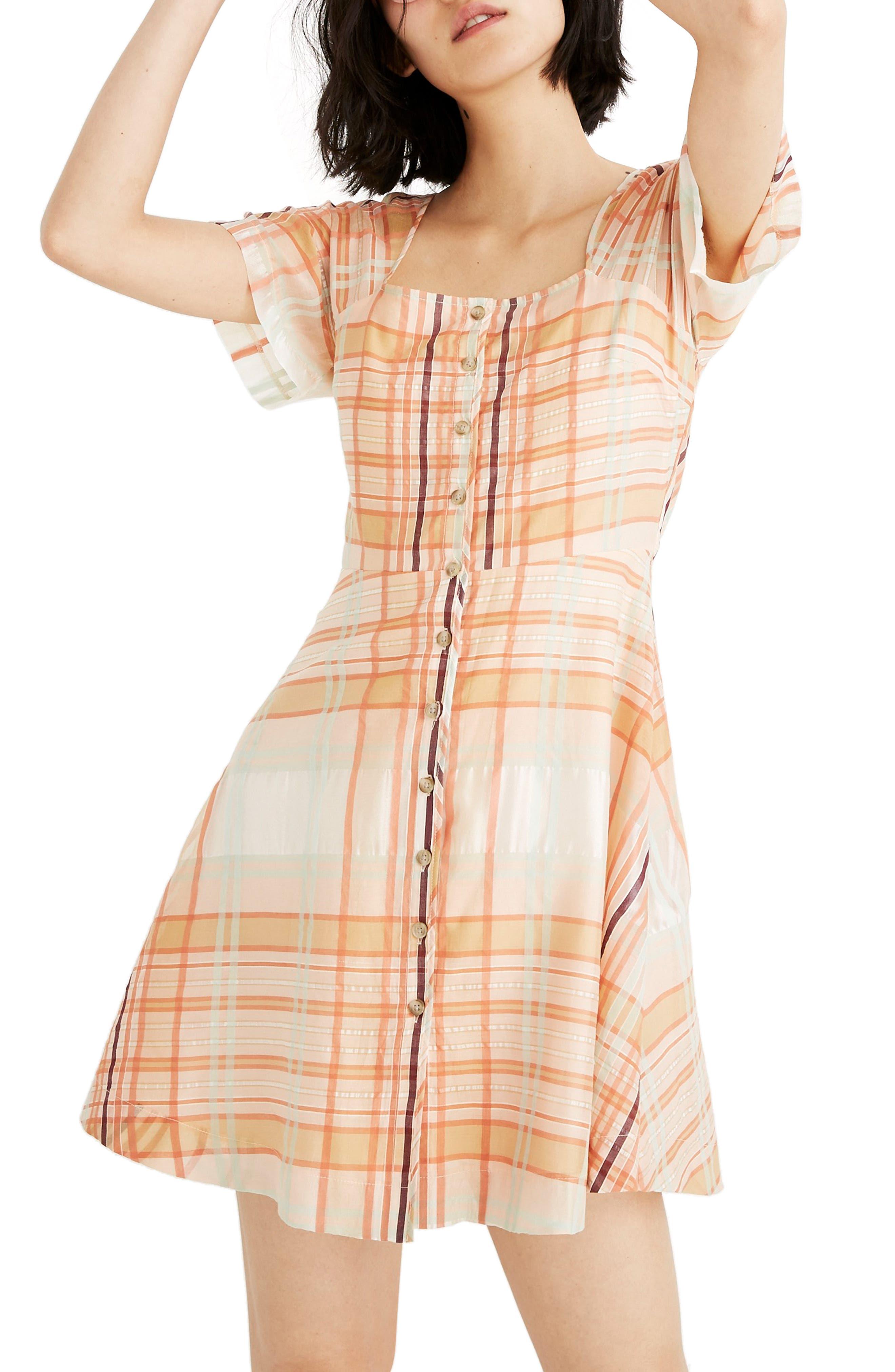 Madewell Shimmer Plaid Minidress, Orange