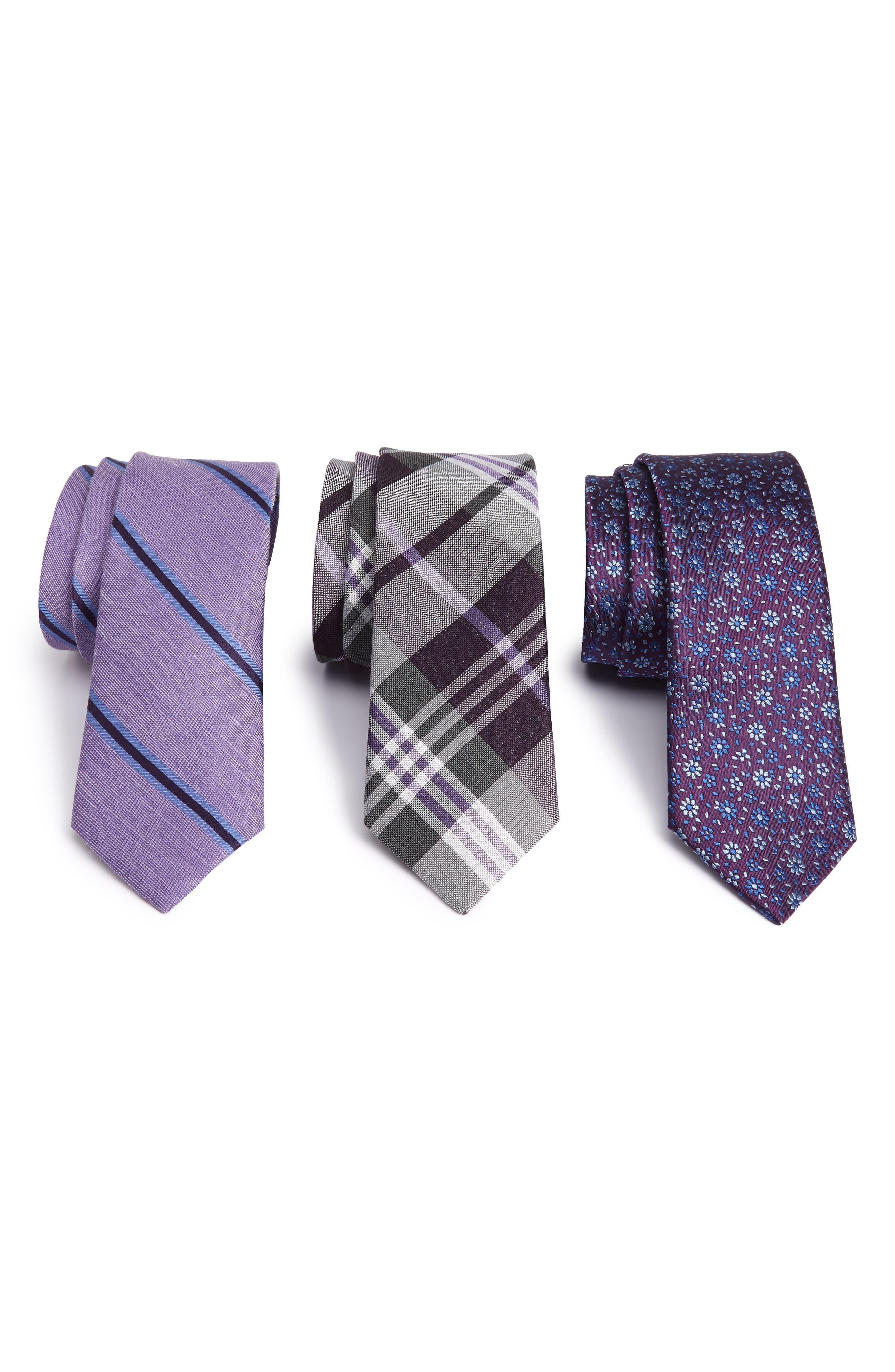 Purple Trend Set of 3 Skinny Silk Ties, Main, color, PURPLE