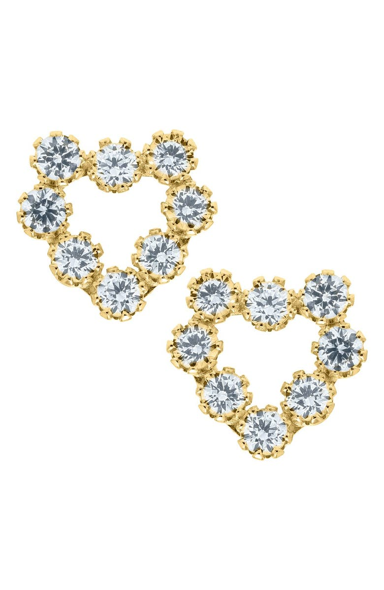 MIGNONETTE 14k Gold & Cubic Zirconia Heart Earrings, Main, color, GOLD