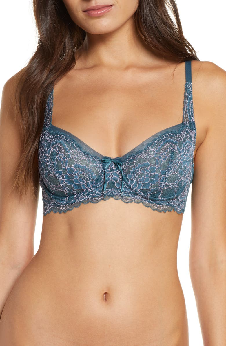 SKARLETT BLUE Minx Balconette Bra, Main, color, INTENSE TEAL/ FRENCH LILAC