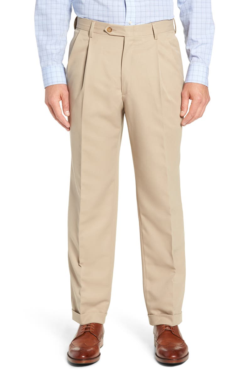 BERLE Classic Fit Pleated Microfiber Performance Trousers, Main, color, TAN